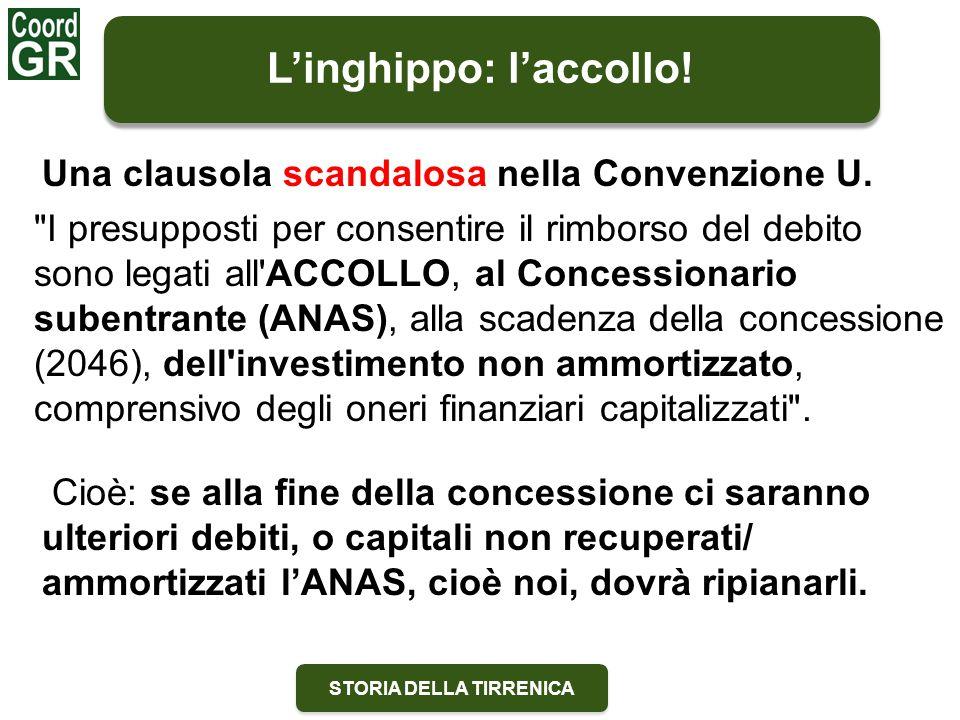 STORIA DELLA TIRRENICA L'inghippo: l'accollo! Una clausola scandalosa nella Convenzione U.