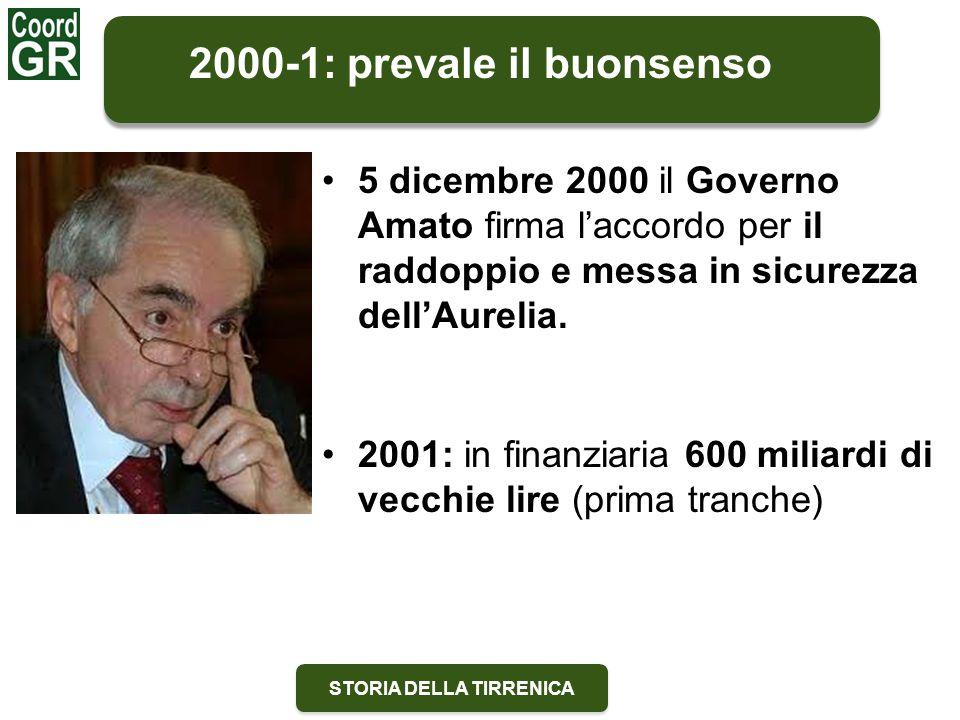 STORIA DELLA TIRRENICA 2000-1: prevale il buonsenso 5 dicembre 2000 il Governo Amato firma l'accordo per il raddoppio e messa in sicurezza dell'Aurelia.