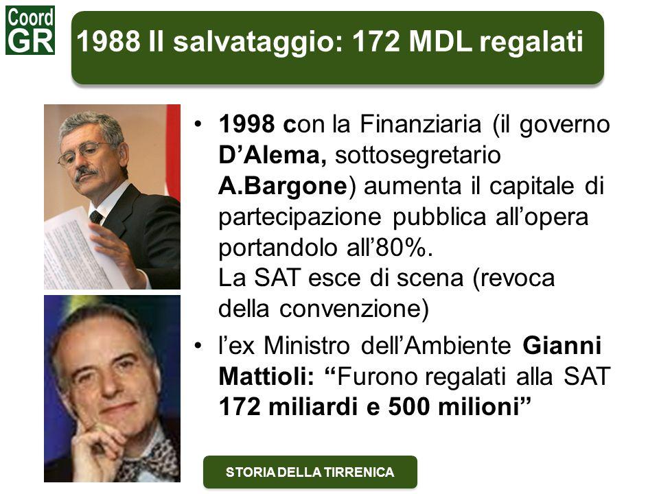 STORIA DELLA TIRRENICA 1988 Il salvataggio: 172 MDL regalati 1998 con la Finanziaria (il governo D'Alema, sottosegretario A.Bargone) aumenta il capitale di partecipazione pubblica all'opera portandolo all'80%.
