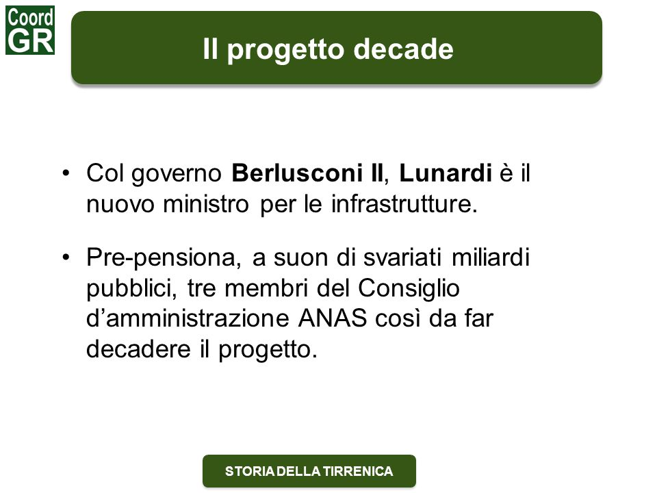 STORIA DELLA TIRRENICA Il progetto decade Col governo Berlusconi II, Lunardi è il nuovo ministro per le infrastrutture. Pre-pensiona, a suon di svaria