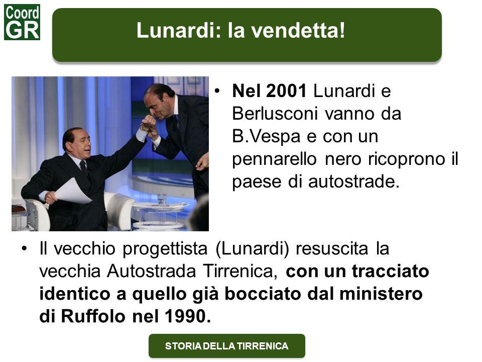 STORIA DELLA TIRRENICA Lunardi: la vendetta! Nel 2001 Lunardi e Berlusconi vanno da B.Vespa e con un pennarello nero ricoprono il paese di autostrade.