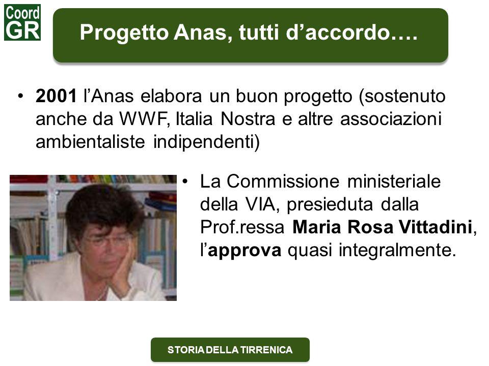 STORIA DELLA TIRRENICA Progetto Anas, tutti d'accordo…. La Commissione ministeriale della VIA, presieduta dalla Prof.ressa Maria Rosa Vittadini, l'app