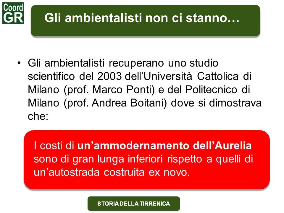 STORIA DELLA TIRRENICA Gli ambientalisti recuperano uno studio scientifico del 2003 dell'Università Cattolica di Milano (prof. Marco Ponti) e del Poli