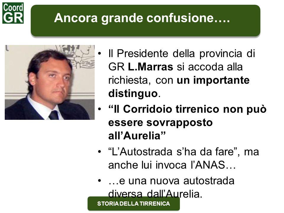 """STORIA DELLA TIRRENICA Il Presidente della provincia di GR L.Marras si accoda alla richiesta, con un importante distinguo. """"Il Corridoio tirrenico non"""