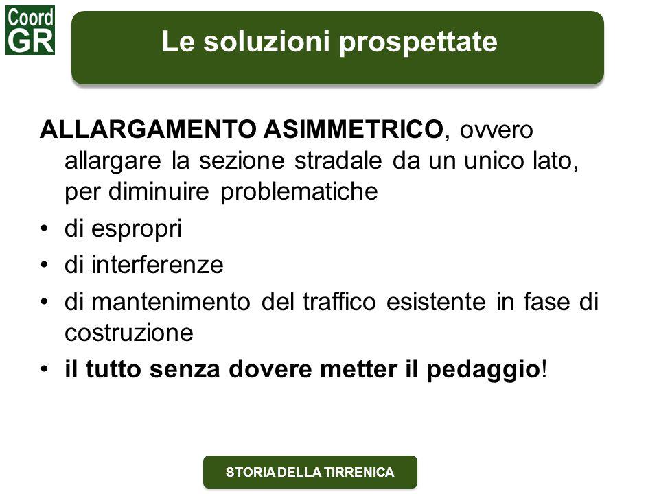 STORIA DELLA TIRRENICA ALLARGAMENTO ASIMMETRICO, ovvero allargare la sezione stradale da un unico lato, per diminuire problematiche di espropri di int