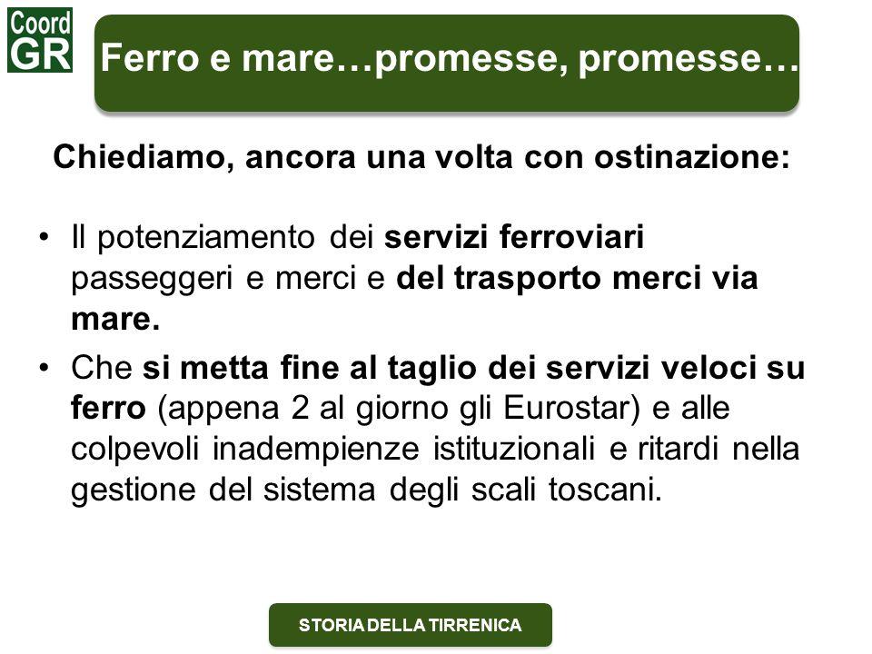STORIA DELLA TIRRENICA Il potenziamento dei servizi ferroviari passeggeri e merci e del trasporto merci via mare.