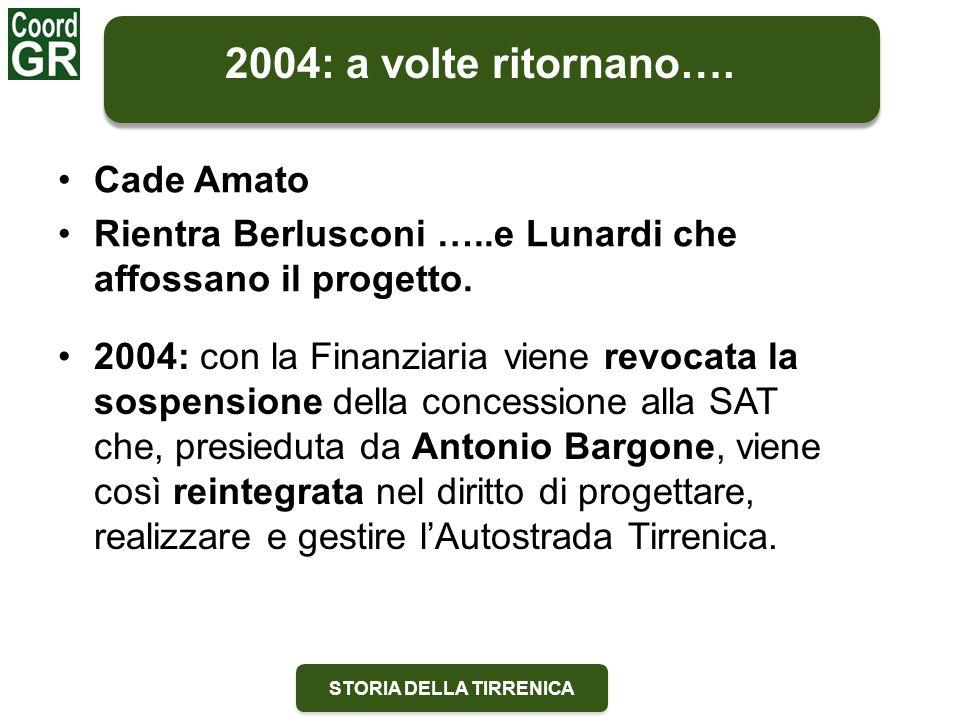 STORIA DELLA TIRRENICA Cade Amato Rientra Berlusconi …..e Lunardi che affossano il progetto. 2004: a volte ritornano…. 2004: con la Finanziaria viene