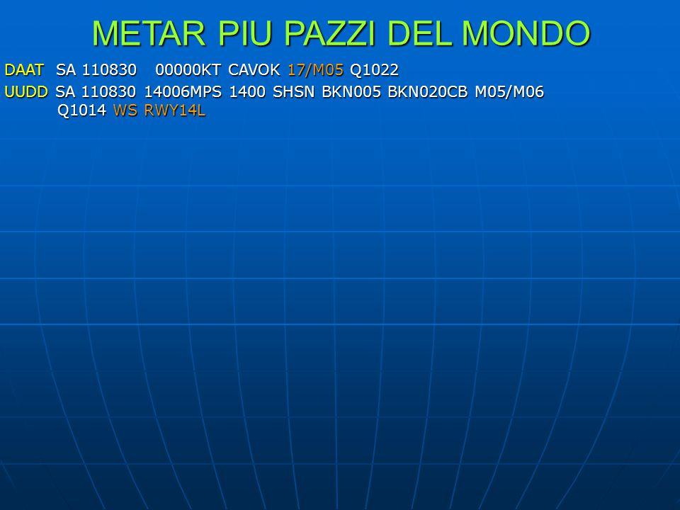 METAR PIU PAZZI DEL MONDO DAAT SA 110830 00000KT CAVOK 17/M05 Q1022 UUDD SA 110830 14006MPS 1400 SHSN BKN005 BKN020CB M05/M06 Q1014 WS RWY14L