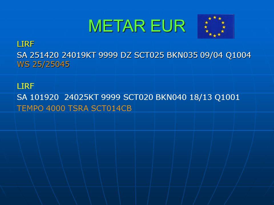 METAR EUR LIRF SA 251420 24019KT 9999 DZ SCT025 BKN035 09/04 Q1004 WS 25/25045 LIRF SA 101920 24025KT 9999 SCT020 BKN040 18/13 Q1001 TEMPO 4000 TSRA SCT014CB