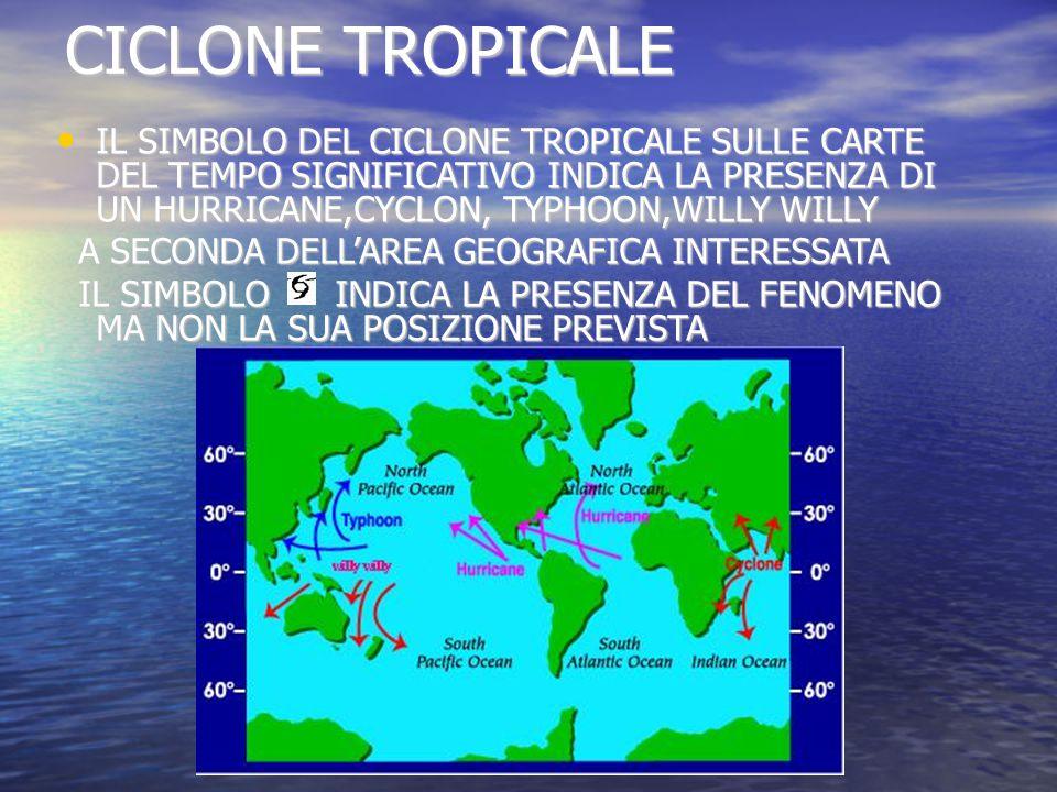 CICLONE TROPICALE IL SIMBOLO DEL CICLONE TROPICALE SULLE CARTE DEL TEMPO SIGNIFICATIVO INDICA LA PRESENZA DI UN HURRICANE,CYCLON, TYPHOON,WILLY WILLY IL SIMBOLO DEL CICLONE TROPICALE SULLE CARTE DEL TEMPO SIGNIFICATIVO INDICA LA PRESENZA DI UN HURRICANE,CYCLON, TYPHOON,WILLY WILLY A SECONDA DELL'AREA GEOGRAFICA INTERESSATA A SECONDA DELL'AREA GEOGRAFICA INTERESSATA IL SIMBOLO INDICA LA PRESENZA DEL FENOMENO MA NON LA SUA POSIZIONE PREVISTA IL SIMBOLO INDICA LA PRESENZA DEL FENOMENO MA NON LA SUA POSIZIONE PREVISTA