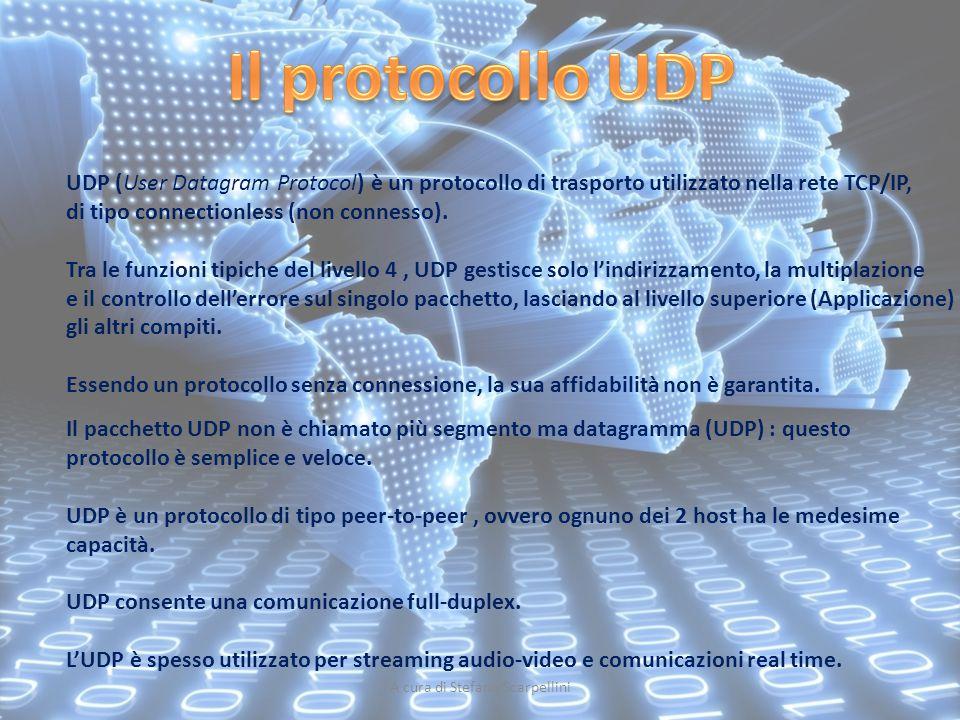 A cura di Stefano Scarpellini UDP (User Datagram Protocol) è un protocollo di trasporto utilizzato nella rete TCP/IP, di tipo connectionless (non conn