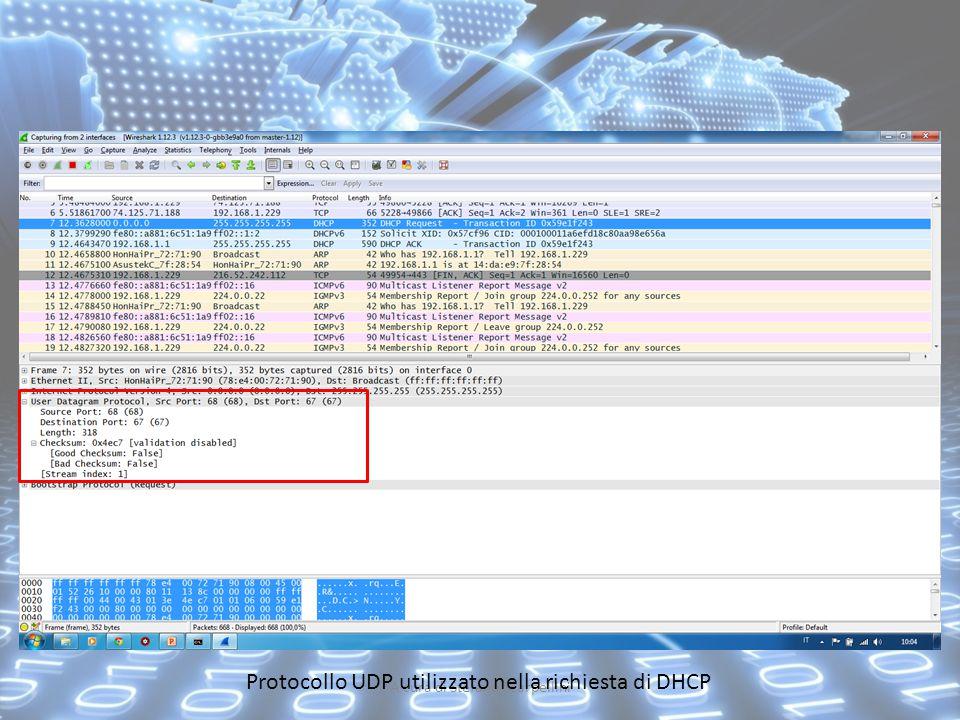 A cura di Stefano Scarpellini Protocollo UDP utilizzato nella richiesta di DHCP