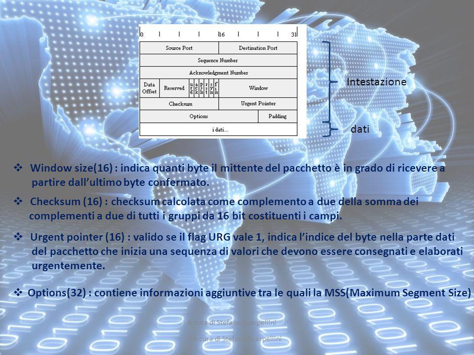 A cura di Stefano Scarpellini Intestazione dati  Window size(16) : indica quanti byte il mittente del pacchetto è in grado di ricevere a partire dall