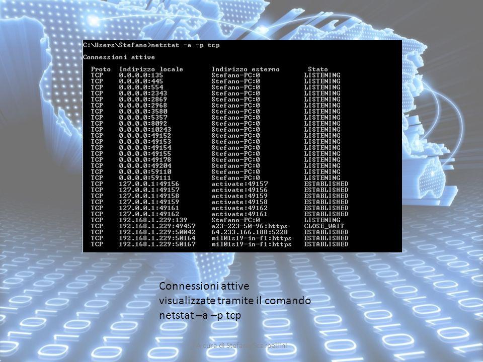 A cura di Stefano Scarpellini Connessioni attive visualizzate tramite il comando netstat –a –p tcp