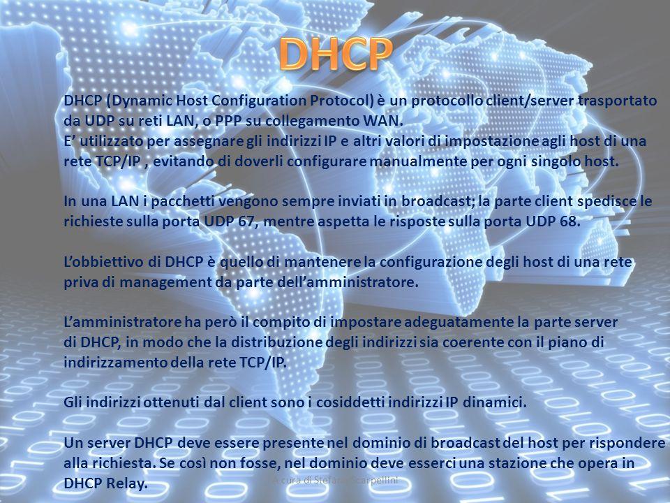 A cura di Stefano Scarpellini DHCP (Dynamic Host Configuration Protocol) è un protocollo client/server trasportato da UDP su reti LAN, o PPP su colleg