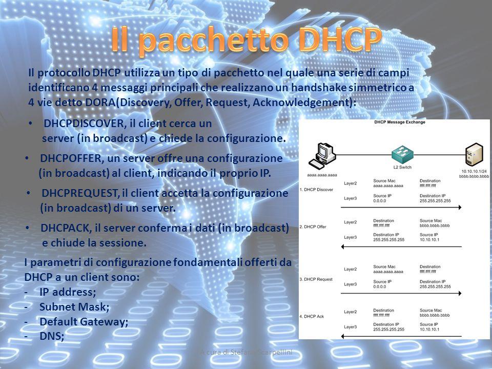 A cura di Stefano Scarpellini Il protocollo DHCP utilizza un tipo di pacchetto nel quale una serie di campi identificano 4 messaggi principali che rea