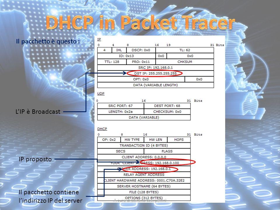 A cura di Stefano Scarpellini Il pacchetto è questo : L'IP è Broadcast IP proposto Il pacchetto contiene l'indirizzo IP del server