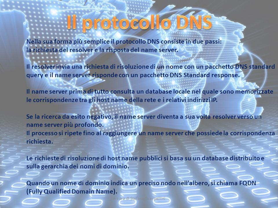 A cura di Stefano Scarpellini Nella sua forma più semplice il protocollo DNS consiste in due passi: la richiesta del resolver e la risposta del name s