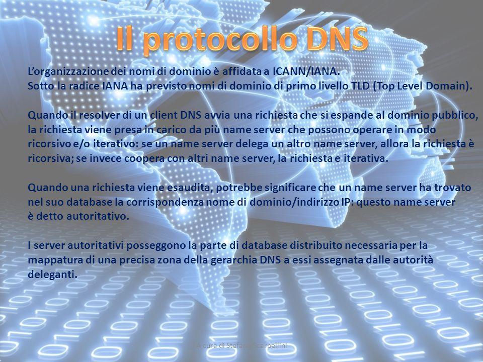 A cura di Stefano Scarpellini L'organizzazione dei nomi di dominio è affidata a ICANN/IANA. Sotto la radice IANA ha previsto nomi di dominio di primo