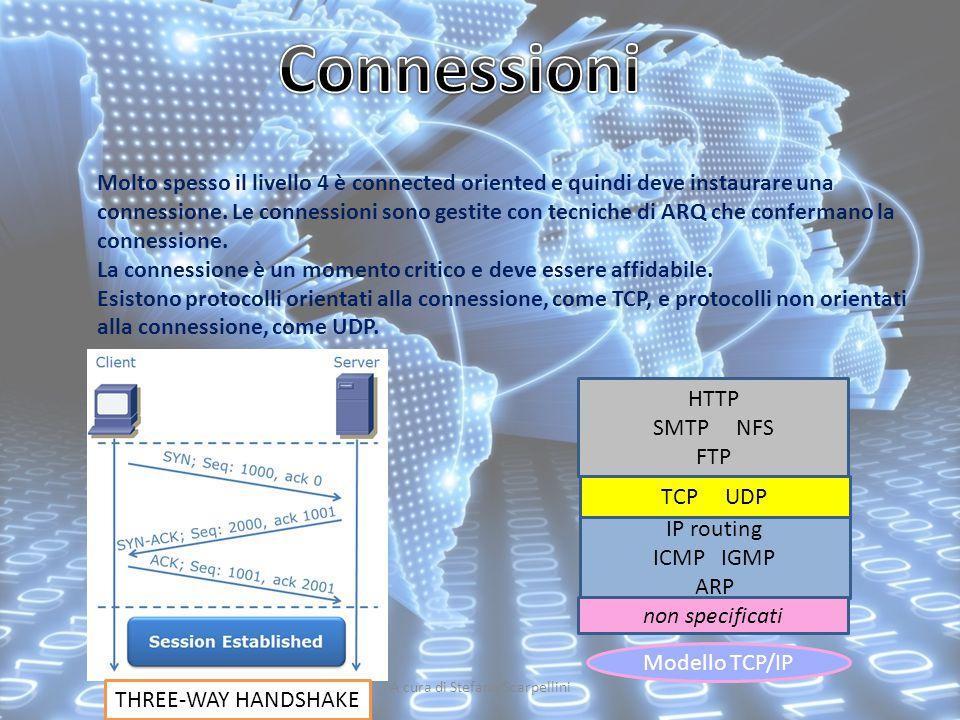 A cura di Stefano Scarpellini Molto spesso il livello 4 è connected oriented e quindi deve instaurare una connessione. Le connessioni sono gestite con