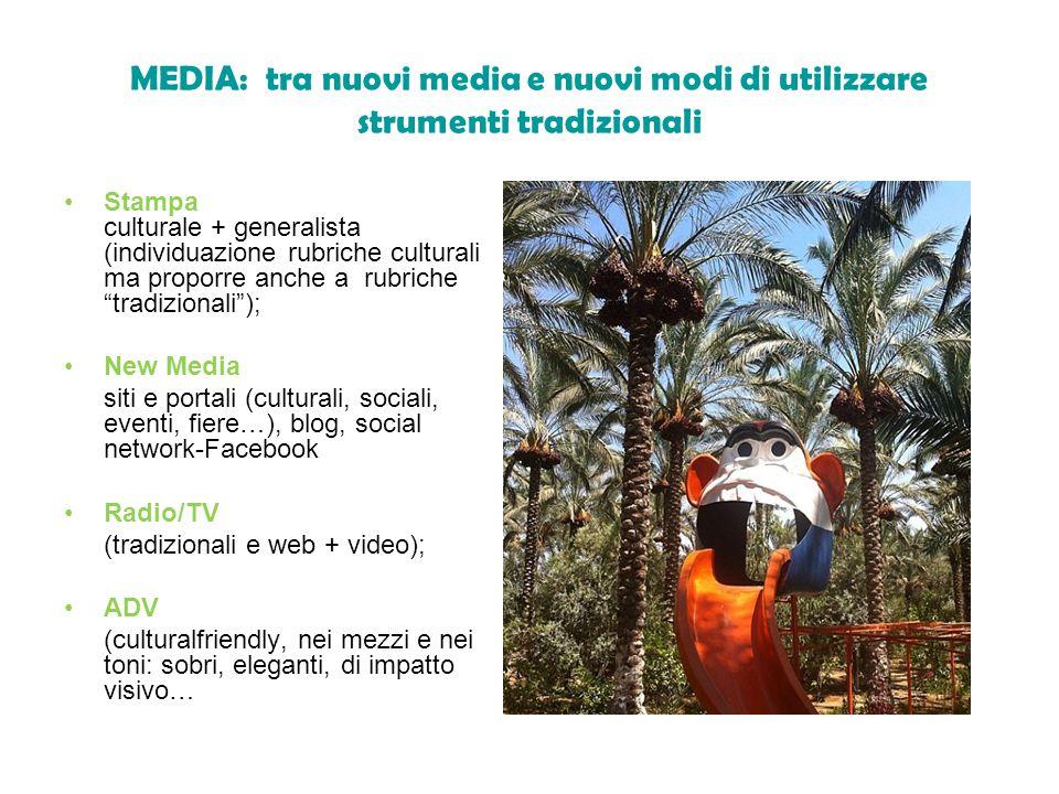 MEDIA: tra nuovi media e nuovi modi di utilizzare strumenti tradizionali Stampa culturale + generalista (individuazione rubriche culturali ma proporre