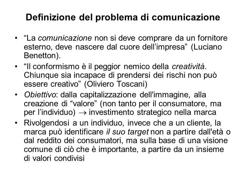 """Definizione del problema di comunicazione """"La comunicazione non si deve comprare da un fornitore esterno, deve nascere dal cuore dell'impresa"""" (Lucian"""