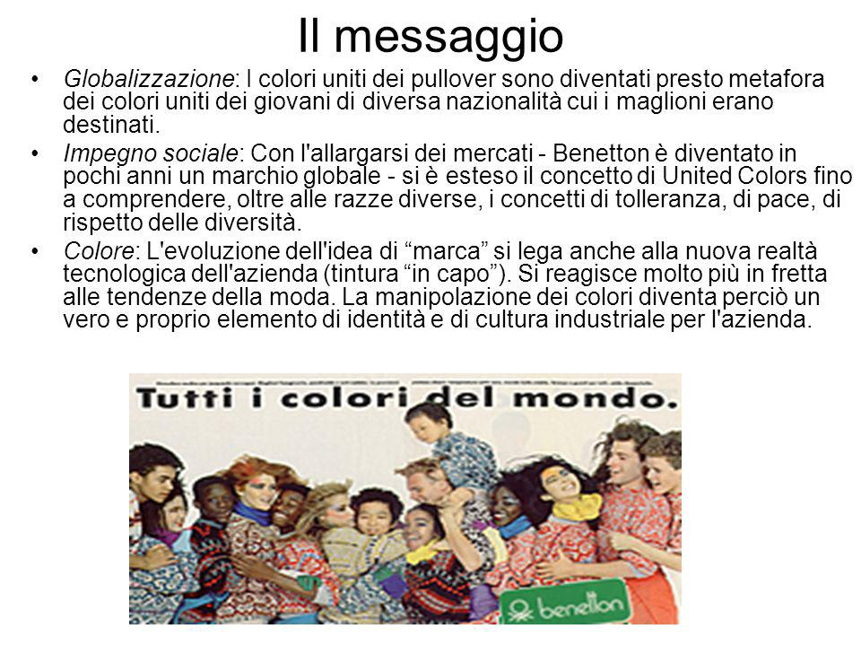 lo slogan United Colors of Benetton diventa marchio Intorno ai colori uniti si svilupperanno i concept delle immagini pubblicitarie che punteranno a creare una rete sempre più estesa di United People .
