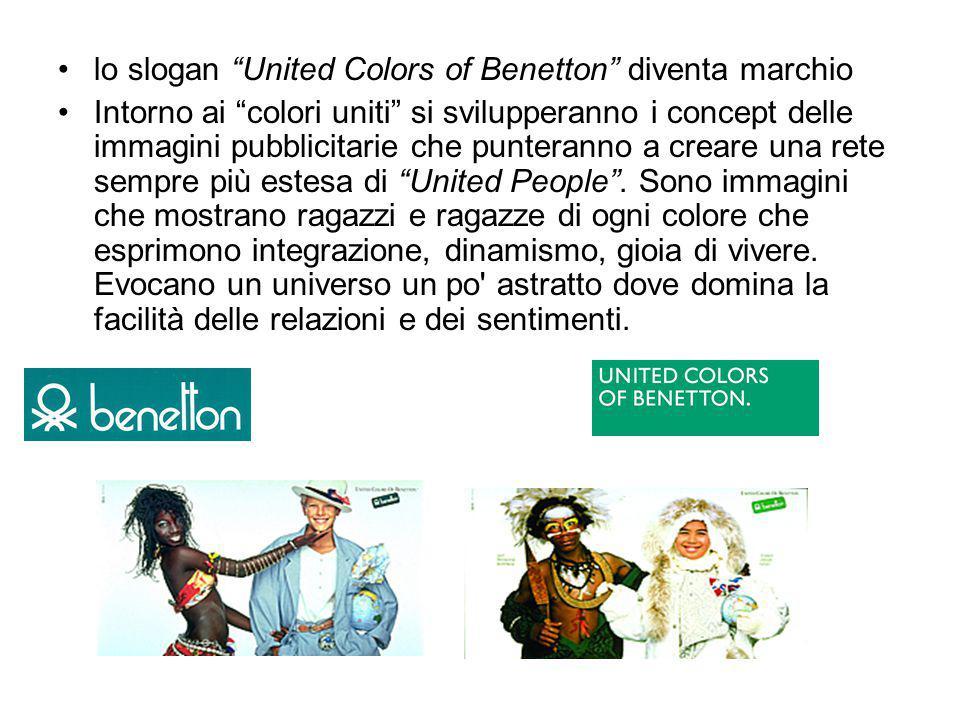 """lo slogan """"United Colors of Benetton"""" diventa marchio Intorno ai """"colori uniti"""" si svilupperanno i concept delle immagini pubblicitarie che punteranno"""