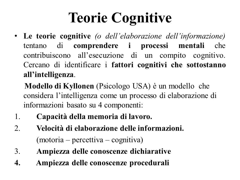 Teorie Cognitive Le teorie cognitive (o dell'elaborazione dell'informazione) tentano di comprendere i processi mentali che contribuiscono all'esecuzio