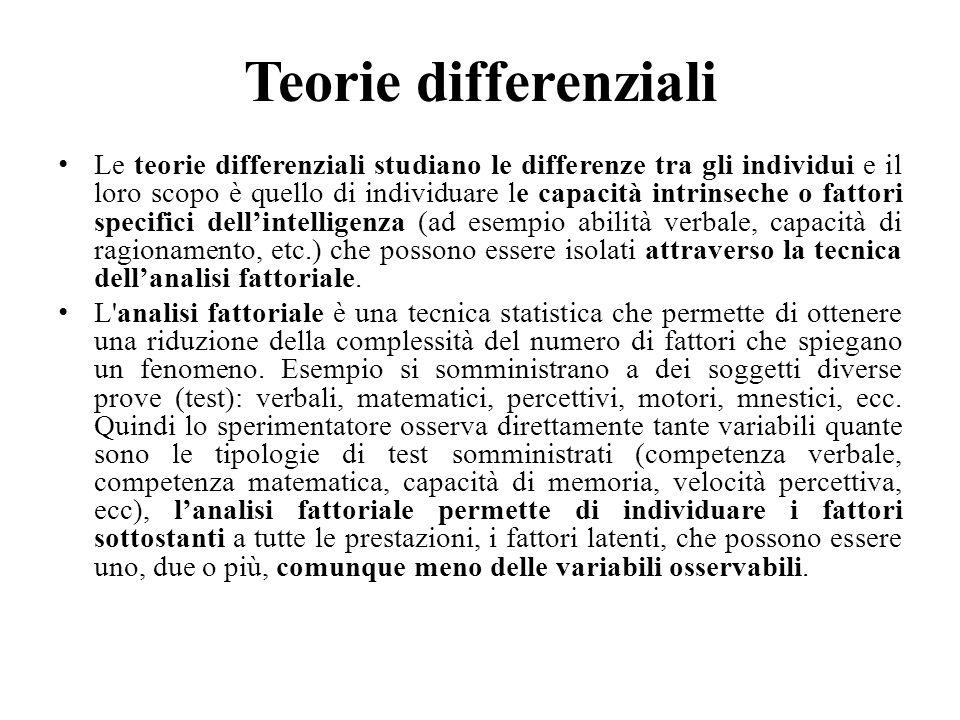 Teorie differenziali Le teorie differenziali studiano le differenze tra gli individui e il loro scopo è quello di individuare le capacità intrinseche