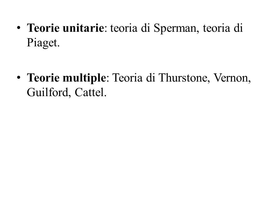 Teorie unitarie: teoria di Sperman, teoria di Piaget. Teorie multiple: Teoria di Thurstone, Vernon, Guilford, Cattel.