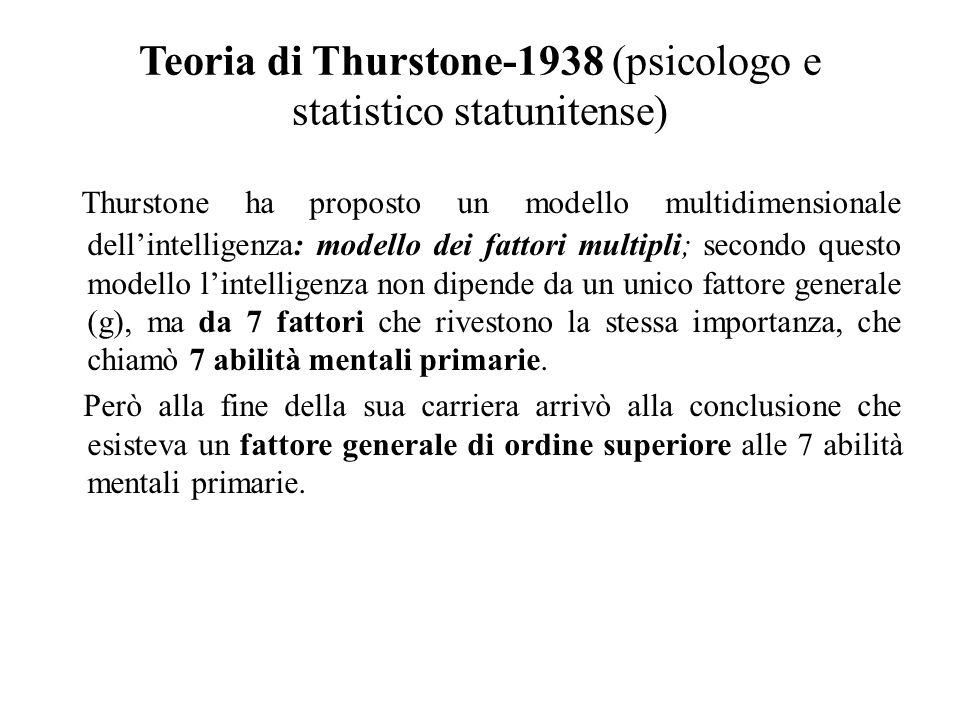 Teoria di Thurstone-1938 (psicologo e statistico statunitense) Thurstone ha proposto un modello multidimensionale dell'intelligenza: modello dei fatto