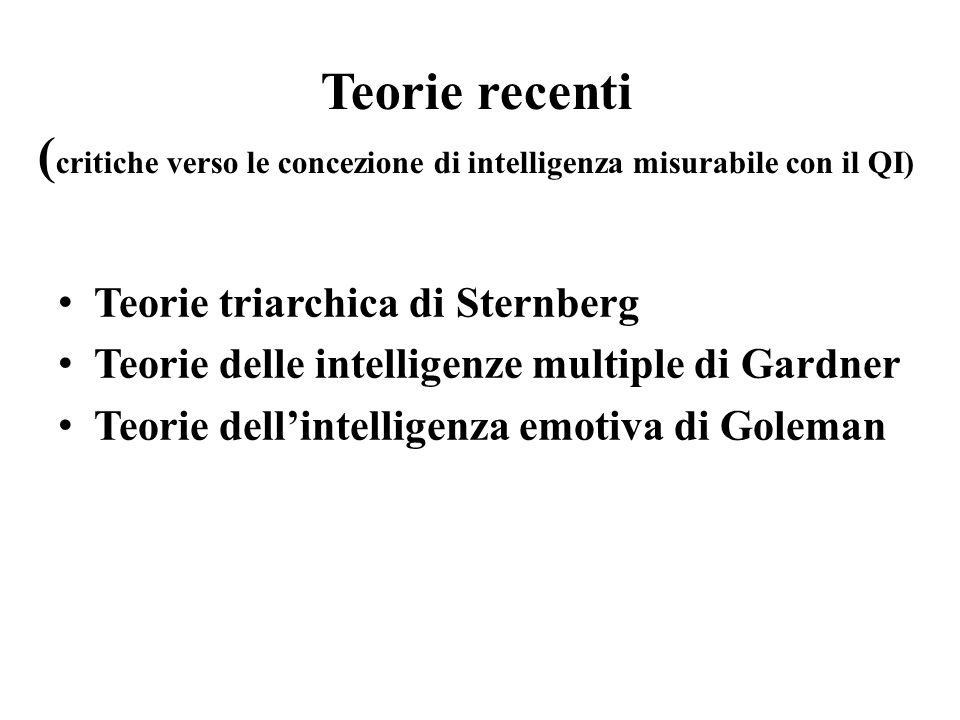 Teorie recenti ( critiche verso le concezione di intelligenza misurabile con il QI) Teorie triarchica di Sternberg Teorie delle intelligenze multiple
