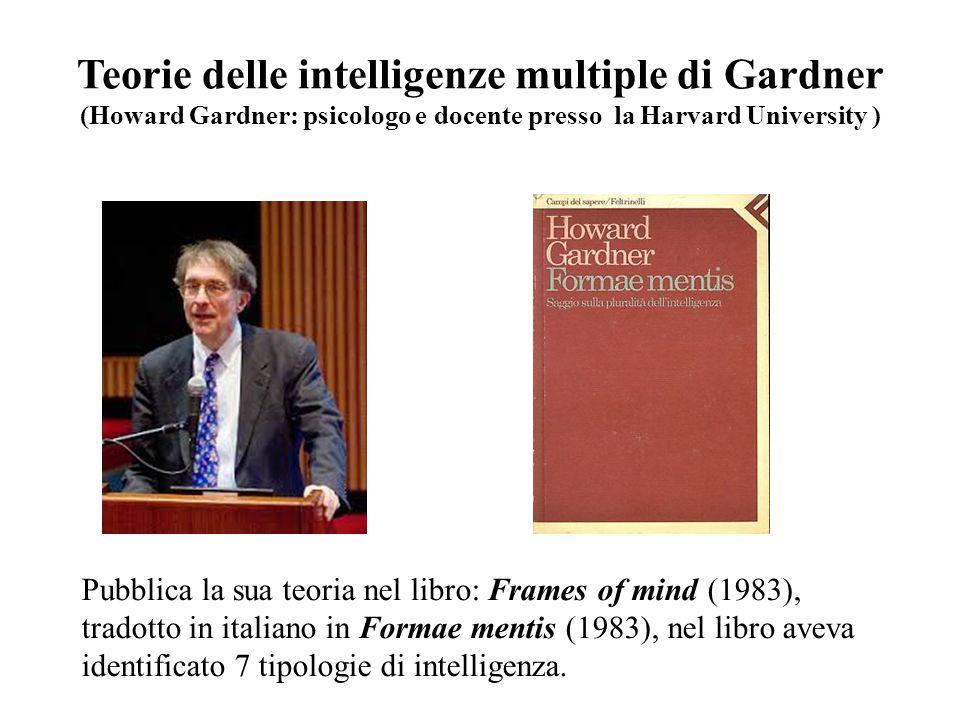 Teorie delle intelligenze multiple di Gardner (Howard Gardner: psicologo e docente presso la Harvard University ) Pubblica la sua teoria nel libro: Fr