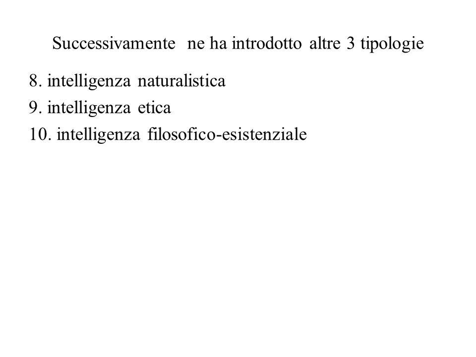 Successivamente ne ha introdotto altre 3 tipologie 8. intelligenza naturalistica 9. intelligenza etica 10. intelligenza filosofico-esistenziale