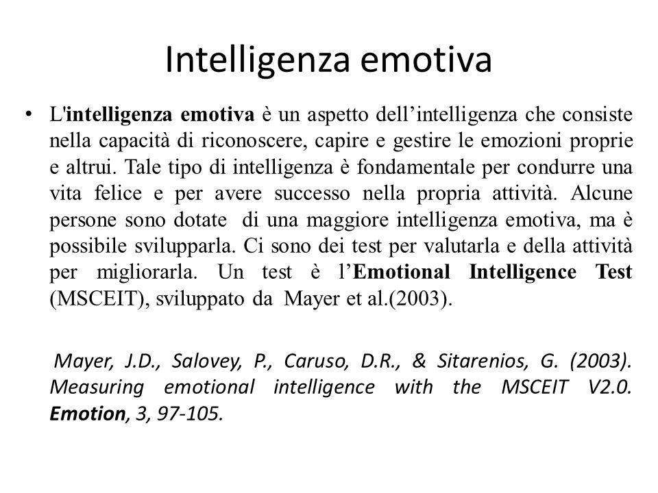 Intelligenza emotiva L'intelligenza emotiva è un aspetto dell'intelligenza che consiste nella capacità di riconoscere, capire e gestire le emozioni pr