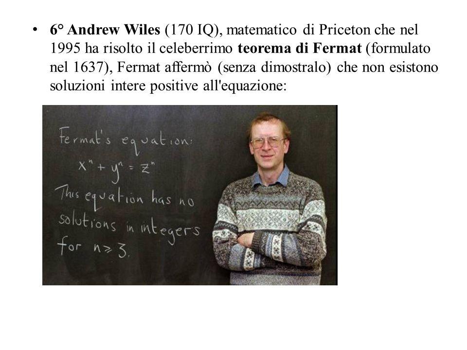 6° Andrew Wiles (170 IQ), matematico di Priceton che nel 1995 ha risolto il celeberrimo teorema di Fermat (formulato nel 1637), Fermat affermò (senza