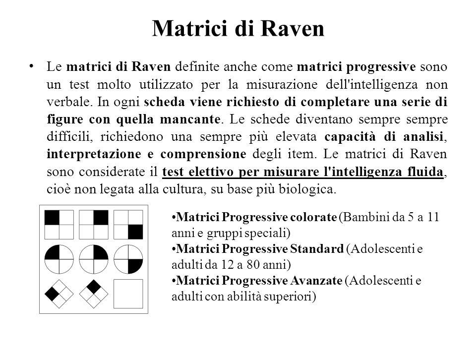 Matrici di Raven Le matrici di Raven definite anche come matrici progressive sono un test molto utilizzato per la misurazione dell'intelligenza non ve