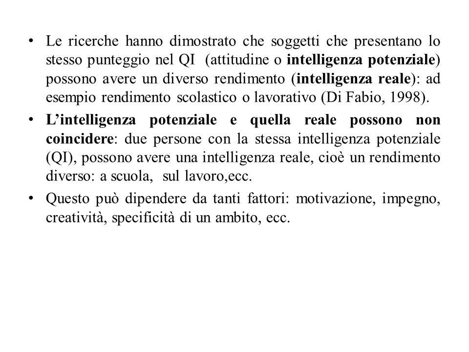 Le ricerche hanno dimostrato che soggetti che presentano lo stesso punteggio nel QI (attitudine o intelligenza potenziale) possono avere un diverso re