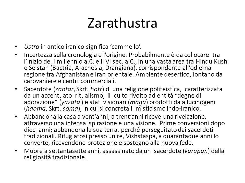 Zarathustra Ustra in antico iranico significa 'cammello'. Incertezza sulla cronologia e l'origine. Probabilmente è da collocare tra l'inizio del I mil