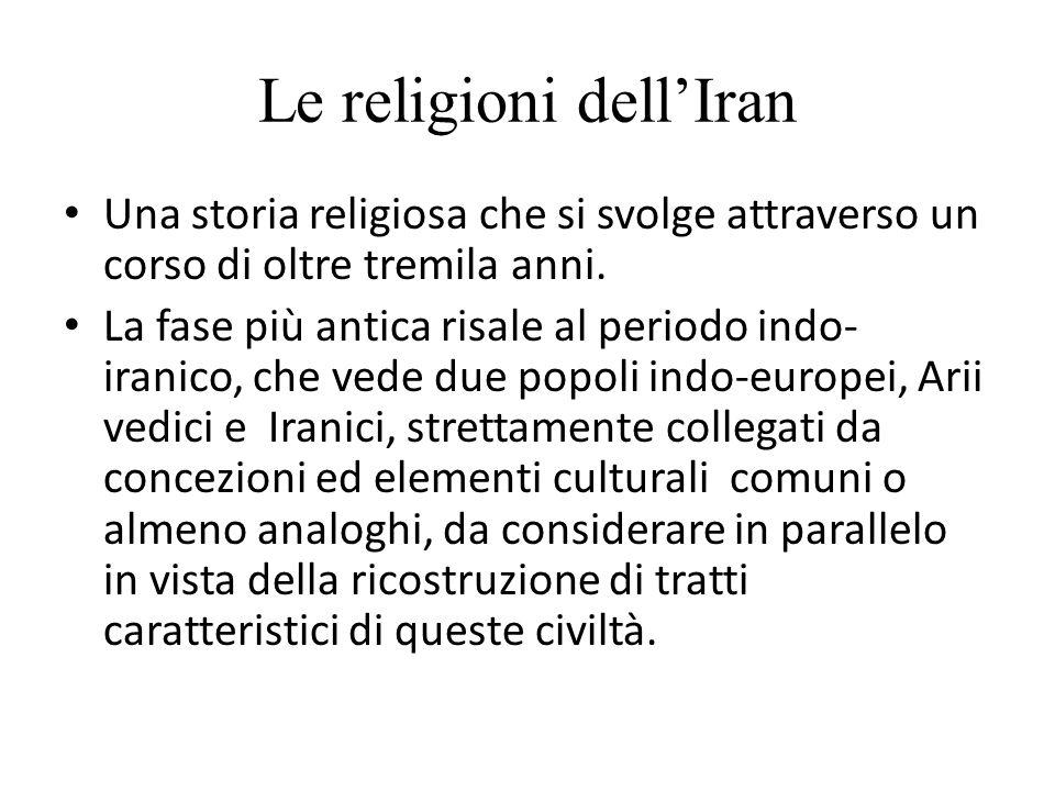 Le religioni dell'Iran Una storia religiosa che si svolge attraverso un corso di oltre tremila anni. La fase più antica risale al periodo indo- iranic