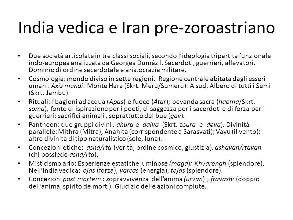 India vedica e Iran pre-zoroastriano Due società articolate in tre classi sociali, secondo l'ideologia tripartita funzionale indo-europea analizzata d