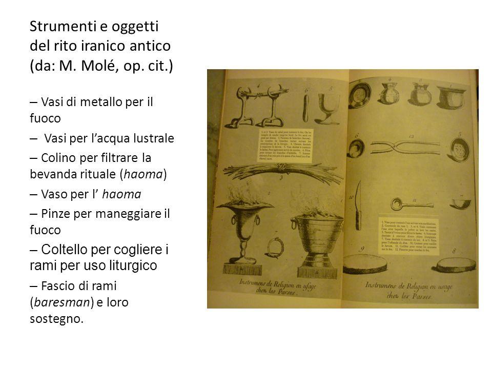 Strumenti e oggetti del rito iranico antico (da: M. Molé, op. cit.) – Vasi di metallo per il fuoco – Vasi per l'acqua lustrale – Colino per filtrare l