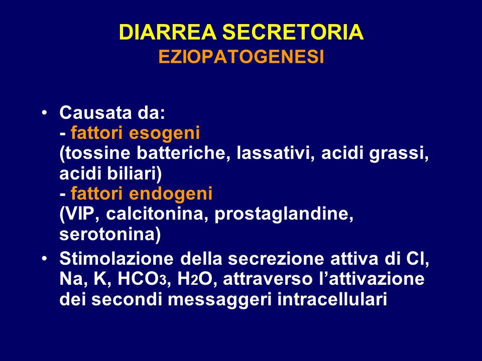 DIARREA SECRETORIA EZIOPATOGENESI Causata da: - fattori esogeni (tossine batteriche, lassativi, acidi grassi, acidi biliari) - fattori endogeni (VIP,