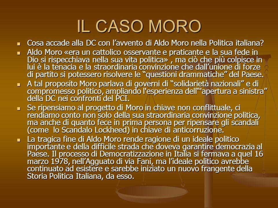 IL CASO MORO Cosa accade alla DC con l'avvento di Aldo Moro nella Politica italiana.