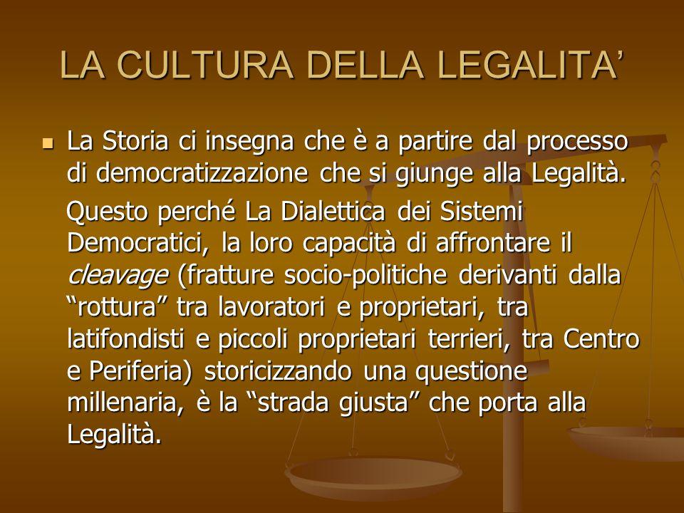 LA CULTURA DELLA LEGALITA' La Storia ci insegna che è a partire dal processo di democratizzazione che si giunge alla Legalità.