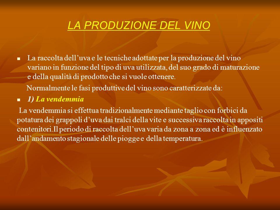 La raccolta dell'uva e le tecniche adottate per la produzione del vino variano in funzione del tipo di uva utilizzata, del suo grado di maturazione e