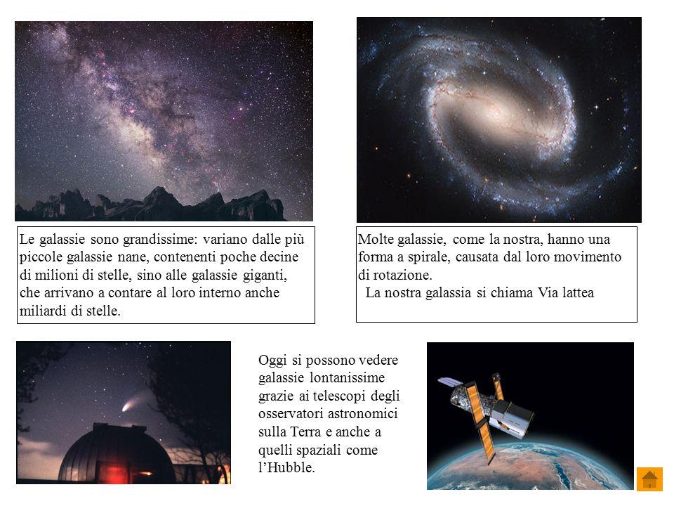 Molte galassie, come la nostra, hanno una forma a spirale, causata dal loro movimento di rotazione. La nostra galassia si chiama Via lattea Le galassi
