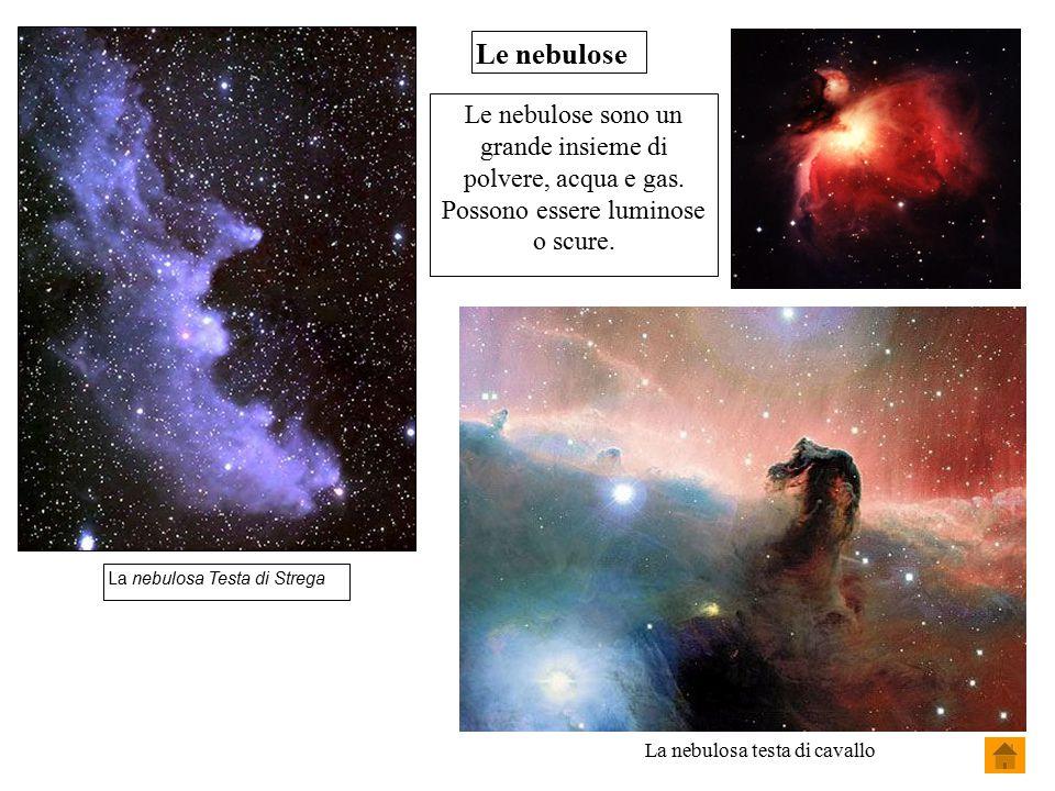 Le nebulose Le nebulose sono un grande insieme di polvere, acqua e gas. Possono essere luminose o scure. La nebulosa Testa di Strega La nebulosa testa