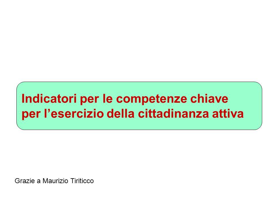 Indicatori per le competenze chiave per l'esercizio della cittadinanza attiva Grazie a Maurizio Tiriticco